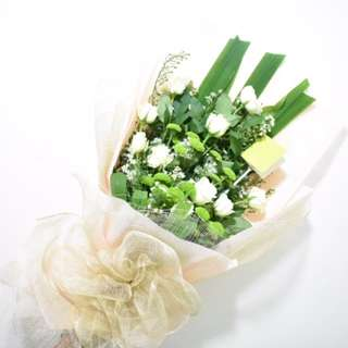 White Roses & Green Buttons Bouquet