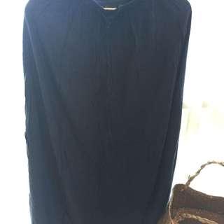 Navy blue cotton long skirt