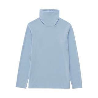 UNIQLO Light Blue Heattech Fleece Turtleneck Long Sleeve Top