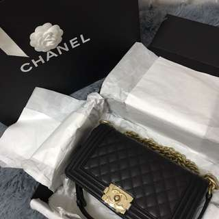 Authentic Chanel Boy medium black caviar with Gold harware