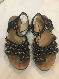 very good condition authentic chanel chain gladiator sandals - 35.5. Normal wear on soles