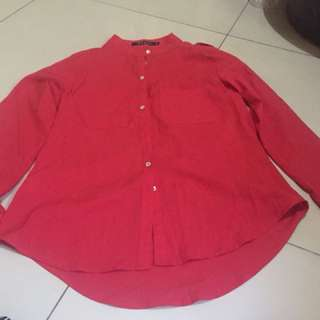 Red blouse and long sleeve