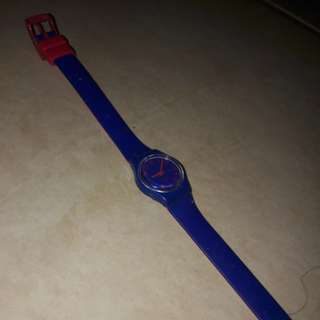 Long strap swatch watch