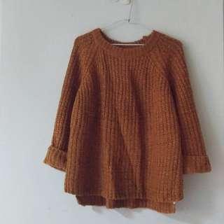 橘咖色寬袖針織上衣