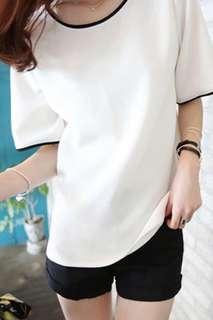 Short sleeve T-shirt V collar