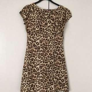 Leopard Print pure  silk Dress