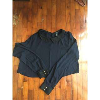 Navy Blue Forever 21 long sleeved crop top