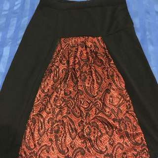 Black and Red Long Skirt