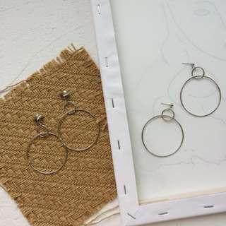 Double Ring Ear Stud / Clip on Earring