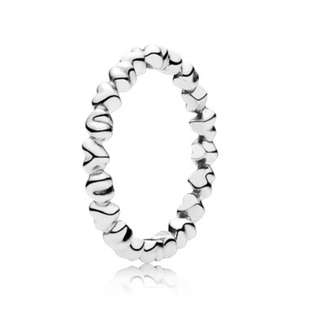 Chain of hearts silver pandora ring