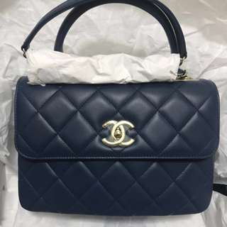 Chanel blue trendy cc logo handle small bag
