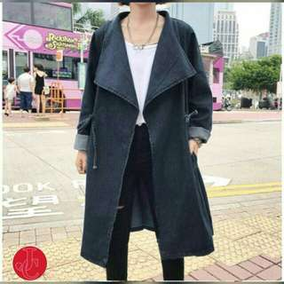 long coat jeans  Bahan jeans asli fit to L  P102cm +tali obi. REAL PIC