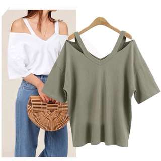 (XL~5XL) European station fashion solid color V-neck top coat women's strapless T-shirt