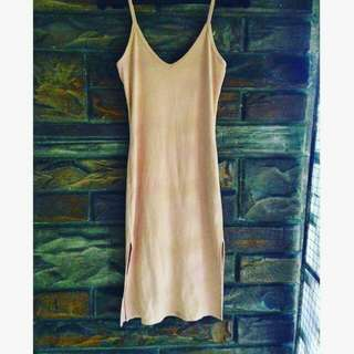 Forever 21 Nude Bodycon Dress with Slit