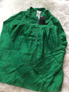 New Agnes b Green silk blouse 36