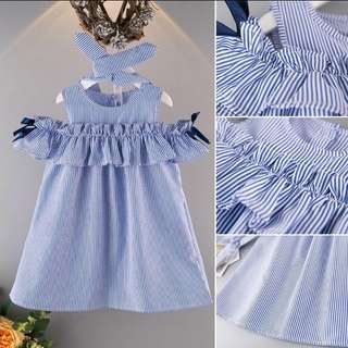 BN girl round neck off shoulder dress stripe dress + hairband