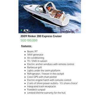 Boat Cruiser For Sale - Rinker 280 Express Cruiser