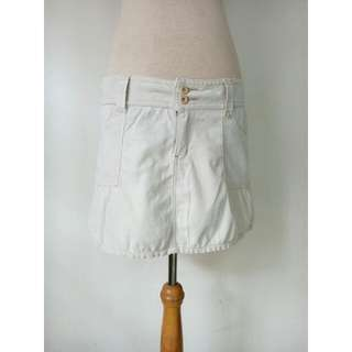 (150rb) Skirt cream denim, bhn codoray, merek BODY and SOUL, waist84-96, hip100cm, pjg35cm