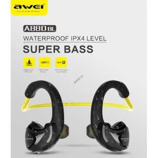 IPX4 Water Proof Superbass Wireless Earphone Earpiece Headset Awei A880BL
