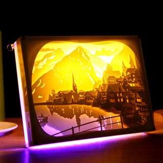 DIY Lighted Paper Art Frame - Lakefront Acrylic Frame