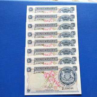 Singapore banknotes orchid series $1 HSS  with seal UNC 8 Running Number