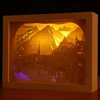 DIY Lighted Paper Art Frame - Lakefront White Wood Frame