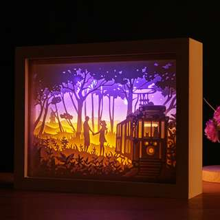 DIY Lighted Paper Art Frame - Train White Wood Frame