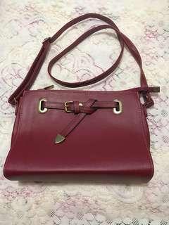 韓國棗紅色復古小手袋