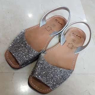 Ria Menorca Silver Glitter Sandals