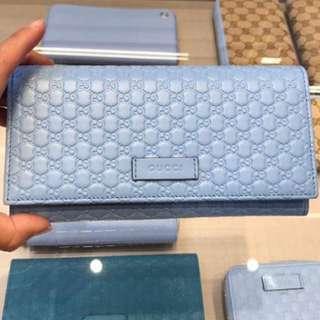 Gucci wallet粉藍長銀包 449396