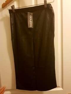Boohoo Black Wet-look Midi Skirt