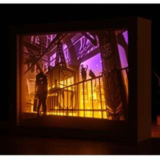 DIY Lighted Paper Art Frame - The Terminal White Wood Frame