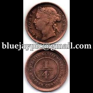Straits Settlements 1901 Quarter Cent Queen Victoria--00091