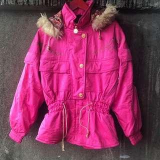 🚚 日本機能古著 桃紅鋪棉外套