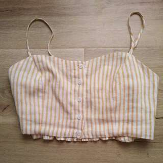 Glassons Yellow Striped Crop Top