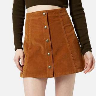 brown suede button skirt