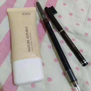 Nature Republic BB Cream, Maybelline and Nichido Eyebrow Pencils 8n Dark Brown