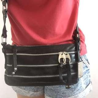 Mango Black leather crossbody bag