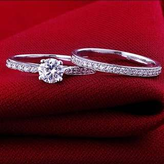 2 PC RING SET 925 SILVER WITH GENUINE ZIRCONIA STONE
