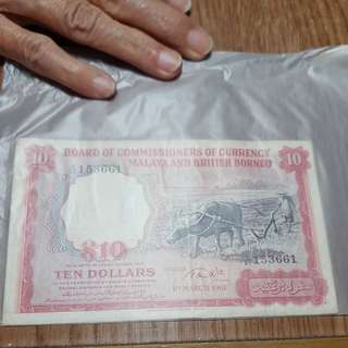 Malaya & British Borneo Ten dollars 1st march 1961