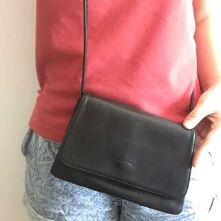 Herbench black leather crossbody bag