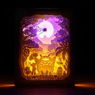 DIY Lighted Paper Art Frame With Clock - Big Totoro Clock White Wood Frame