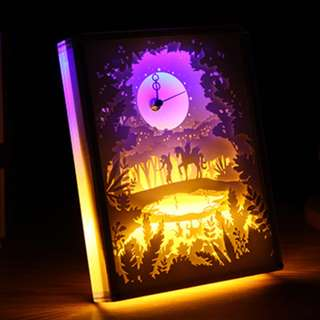DIY Lighted Paper Art Frame With Clock - Magical Adventure Clock Acrylic Frame