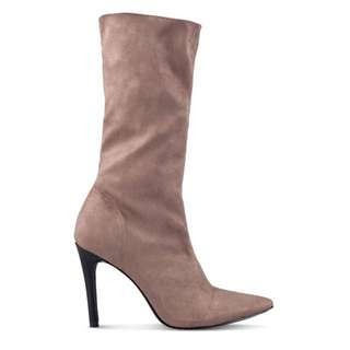 Faux suede boots taupe