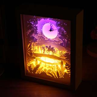 DIY Lighted Paper Art Frame With Clock - Magical Adventure Clock White Wood Frame