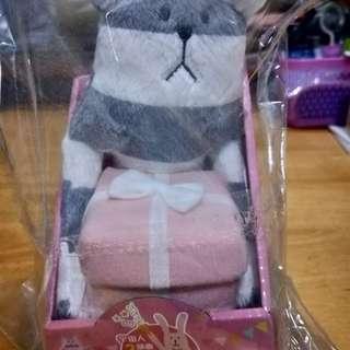 宇宙人絨毛造型置物盒-條紋熊款