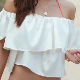 White ruffled off shoulder top