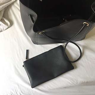 Phase3 faux leather tote bag with clutch wallet