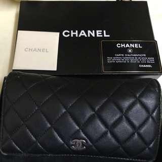 Chanel 黑色羊皮長銀包 Long wallet