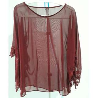 Maroon chiffon top with kimono inspired sleeve with lace/beads . Size M .